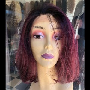 Accessories - Red wine ombré bob Freepart Lace Wig 2019 hairstyl